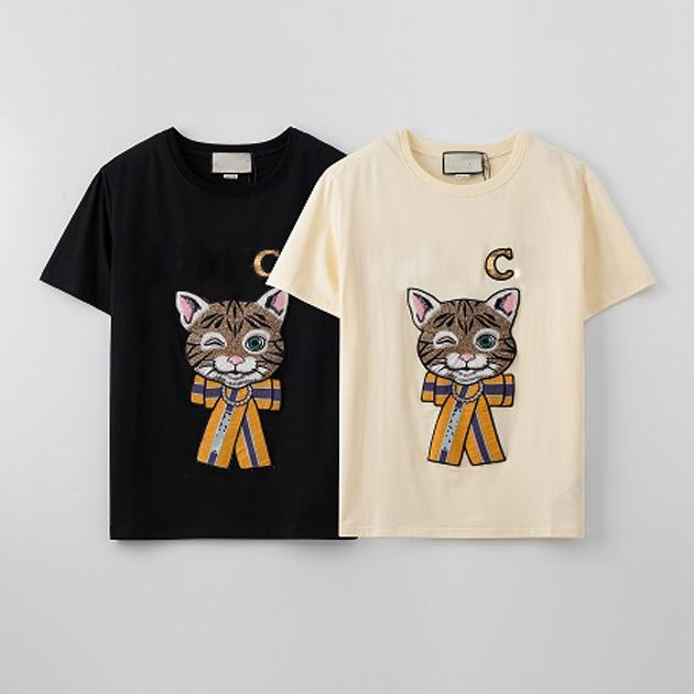 여자 스팽글 티셔츠 소녀 만화 고양이 인쇄 탑 여성 캐주얼 야외 티셔츠 청소년 패션 의류 패션 티셔츠