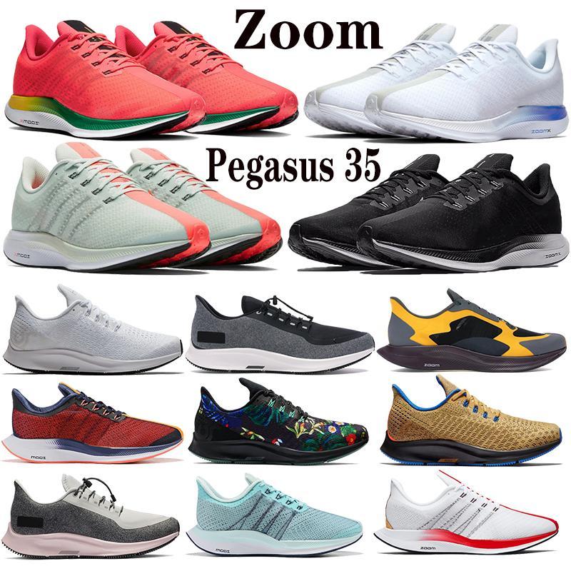 2020 Novo Zoom x Pegasus 35 Turbo Barely Cinza Perfuração Hot Black White Sneakers Shanghai Chaussures Homens Mulheres Correndo Sapatos Espumas Treinadores