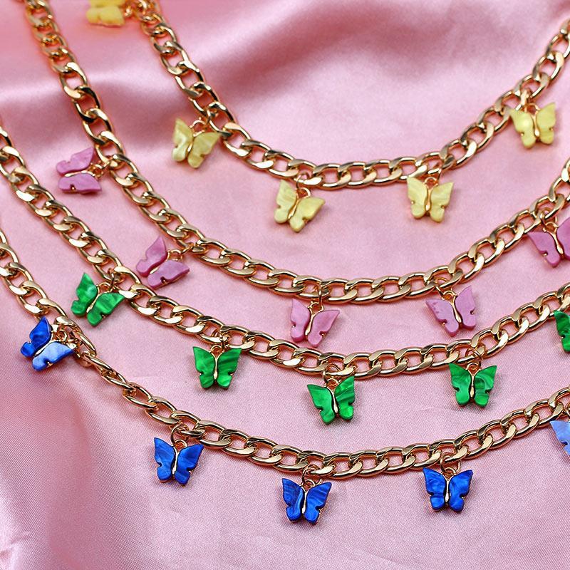 Qualität Gold-Silber-Farben-16 Schmetterling Halskette für Frauen netten Acryl Insekt Halskette Mode Punk Schmuck Geschenk