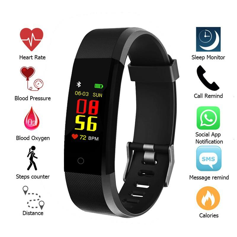 115Plus Bluetooth Спорт Смарт Часы браслет браслет шагомер Tracker Водонепроницаемый Фитнес SmartWatch с пульсометр часы
