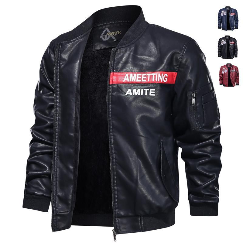 2020 nuevo invierno de la chaqueta de cuero de los hombres collar del soporte de la chaqueta de cuero de la motocicleta de la manera del Mens béisbol abrigos más el tamaño
