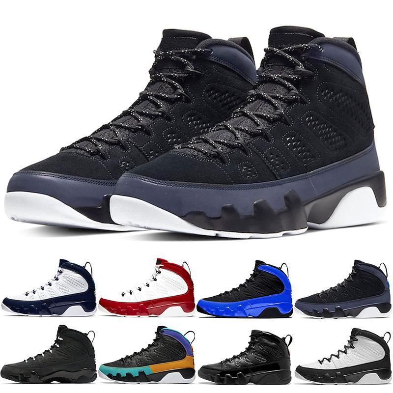 Stok Erkekler Basketbol Ayakkabı 9 Mens Eğitmenler Jumpman Racer Mavi 9S Bred UNC Gym Kırmızı Citrus Yüksek Qaulity Trainer Sport Sneakers Boyut 41-47