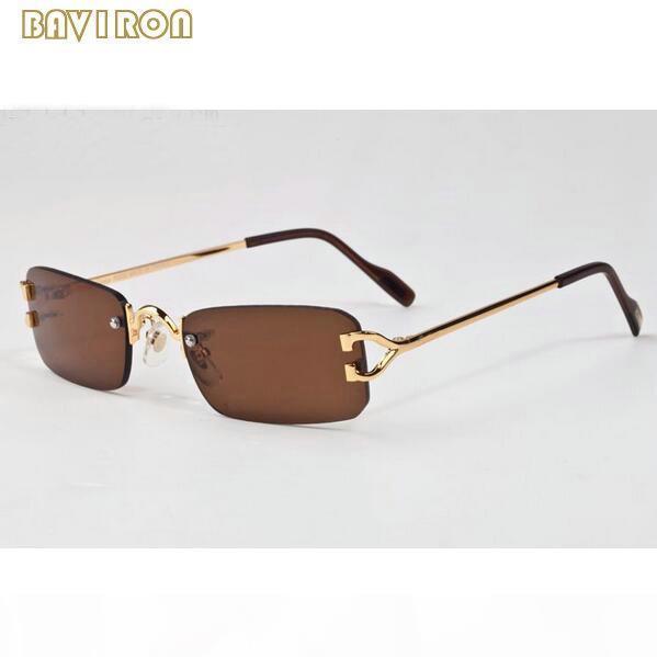 con caja de la marca del diseñador 2017 gafas sin montura claras de moda mujeres de los hombres gafas de sol de las gafas de cuerno de búfalo estructura de metal de plata de oro