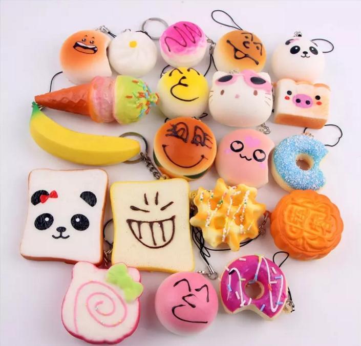3d Kawaii encanto blando de Rilakkuma Donut suaves Squishie linda del teléfono Correas Bolsa encantos lenta Rising Squishie Jumbo bollos colgante DHL