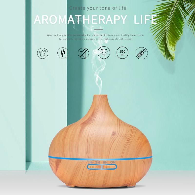 Huiles essentielles Diffuseurs 550ml Aroma Diffuseur de bois grain bois humidificateur coloré Ultrasonic Intelligent Télécommande