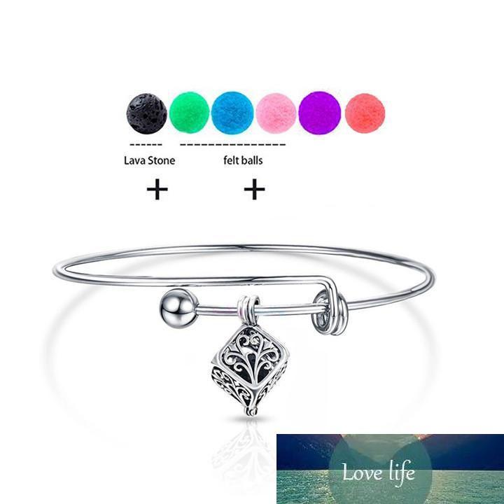 Nuevo Vintage DIY Charm Lockets Aromatherapy Bracelets Young Living Stain Sess Oil Difuser Bangles con Natural Nlacal Lava-Rock