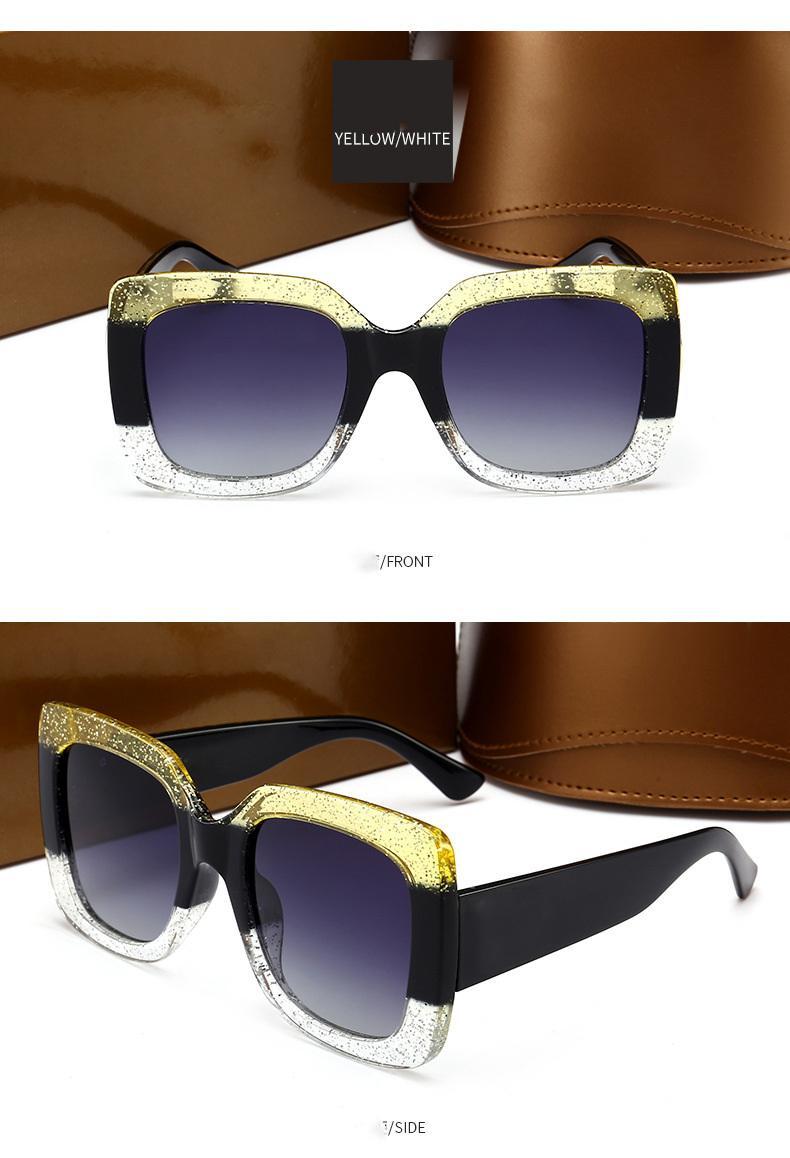 Novas grande cor quadro de correspondência homens Eyewear Praça óculos de sol Mulheres moda Ladies Oversized óculos Feminino UV400 estilo de condução Goggle