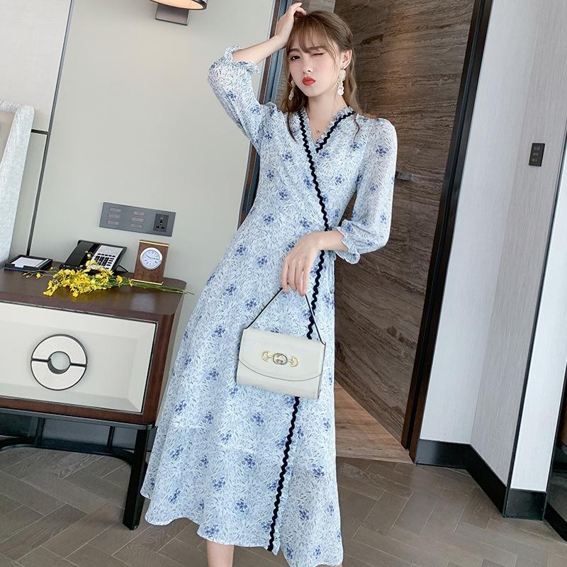 nI4Lo Francese Qy nuovo V-collo sexy manica sette quarti vestito floreale di lunghezza media dolce elegante stampato per le donne del vestito gonna lunga 2020 QySC3 A