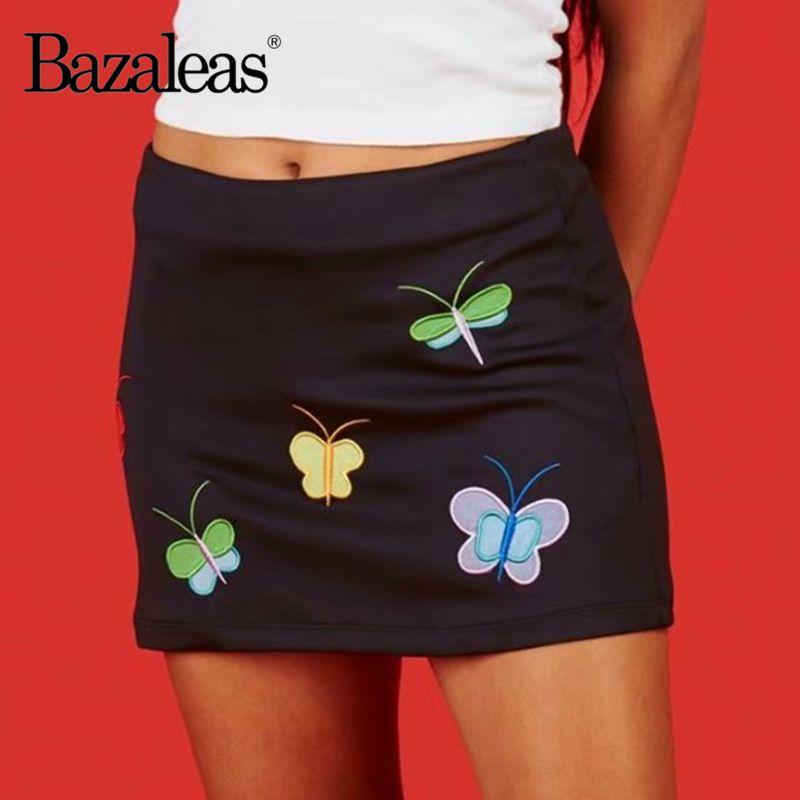 Bazaleas Streetwear borboleta bordados saias curtas Chic Bla A linha Mini Saia Casual Punk Mulheres Saias