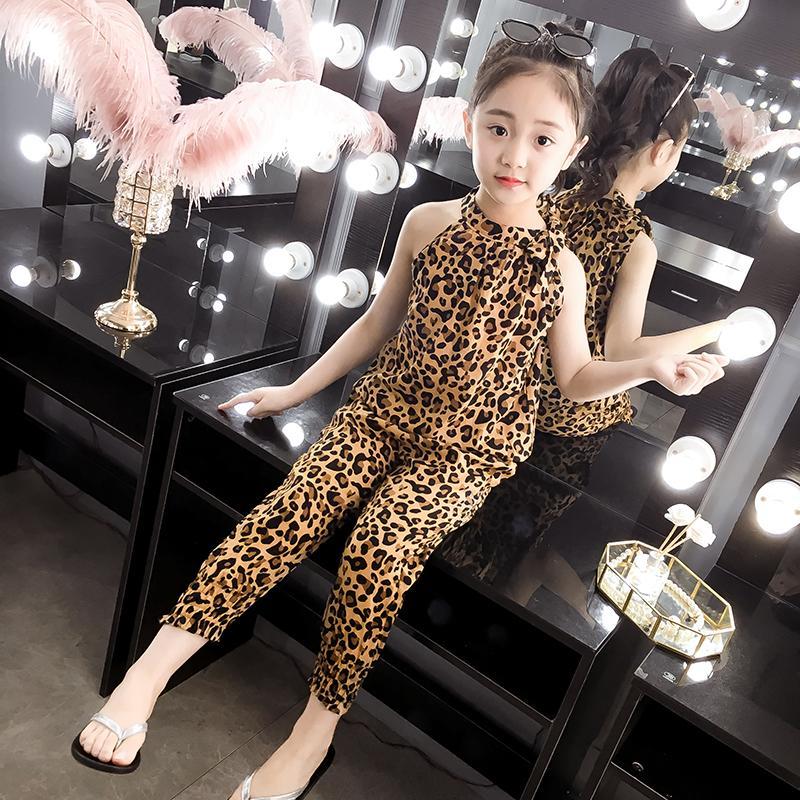 2020 Nuovo Abbigliamento per bambini Set di ragazze di estate di sport set leopardo maniche T-shirt + pants 2pcs ragazze copre 4 6 8 10 12 13 anni Y200829
