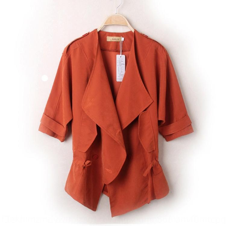 al7gH 2020 Spring small Autumn Korean style and cropped waist drawstring lapel large sleeve short trench Windbreaker coat coat for women