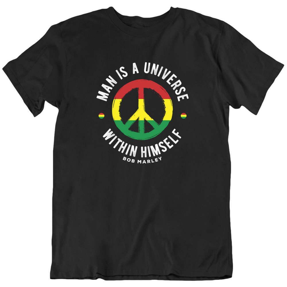 Человек есть вселенная внутри себя 11 Bob Marley тенниски мужчин дамы Rasta тенниски мужчины женщин случайный досуг мода спортивных футболки