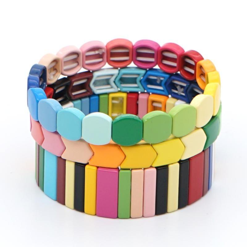 Shinus Boho Rainbow Beads Bracelet For Women Designer Enamel Tile Beads Bracelets Bangle Set Elastic Jewelry Gifts Handmade Bead