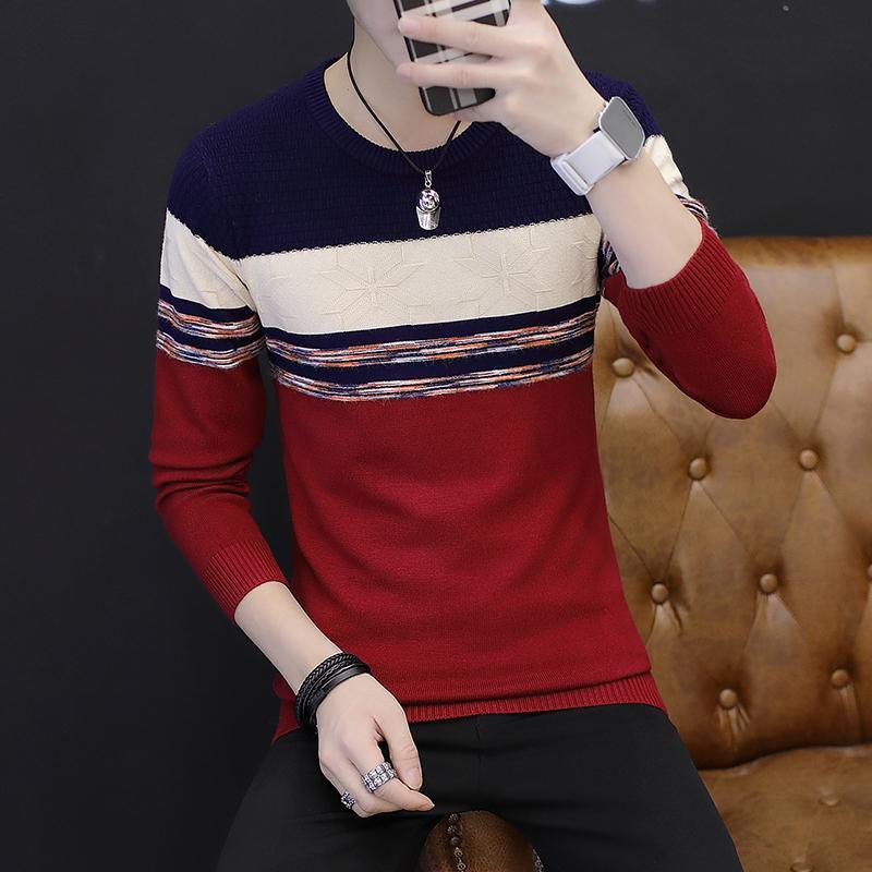 2020 Осень новых мужской свитер Stripes молодежь вокруг шеи Trend пассива Тонкого свитера