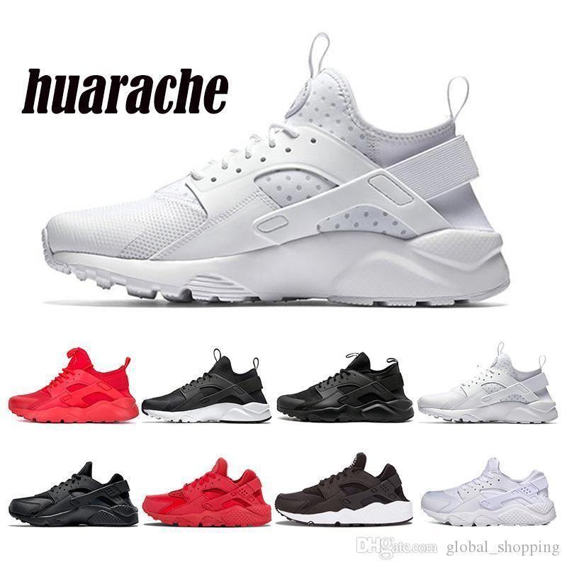 Huarache 4 .0 الاحذية للرجال النساء الثلاثي أسود أبيض أحمر Huaraches 1 .0 منصة الأزياء الرياضية حذاء رياضة رجل مدرب ل36 -45