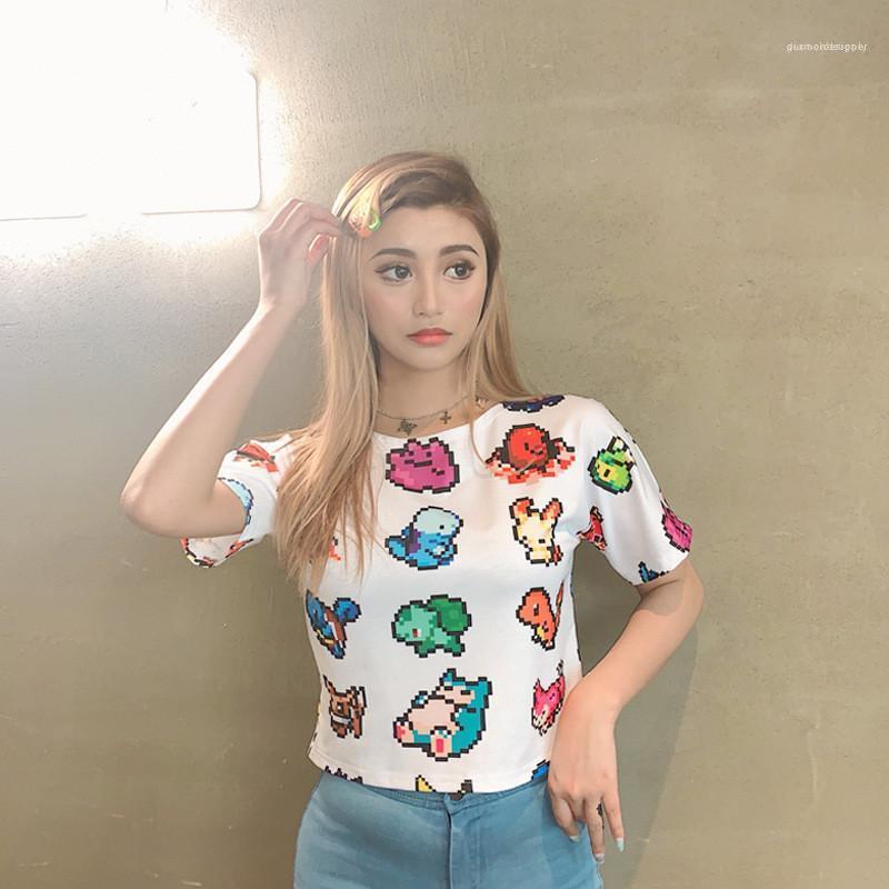 Мода естественный цвет с коротким рукавом Футболки Женская одежда Повседневная женщин лета Печать Tops Crop Tshirts Sexy Кожа да кости