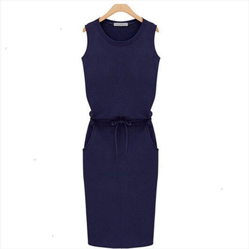 Dress estate delle donne Moda Solid Cotone Slim Fit Tasche matita i vestiti dal lavoro senza maniche Sexy Casual Dress Robe Femme J2218 abiti firmati