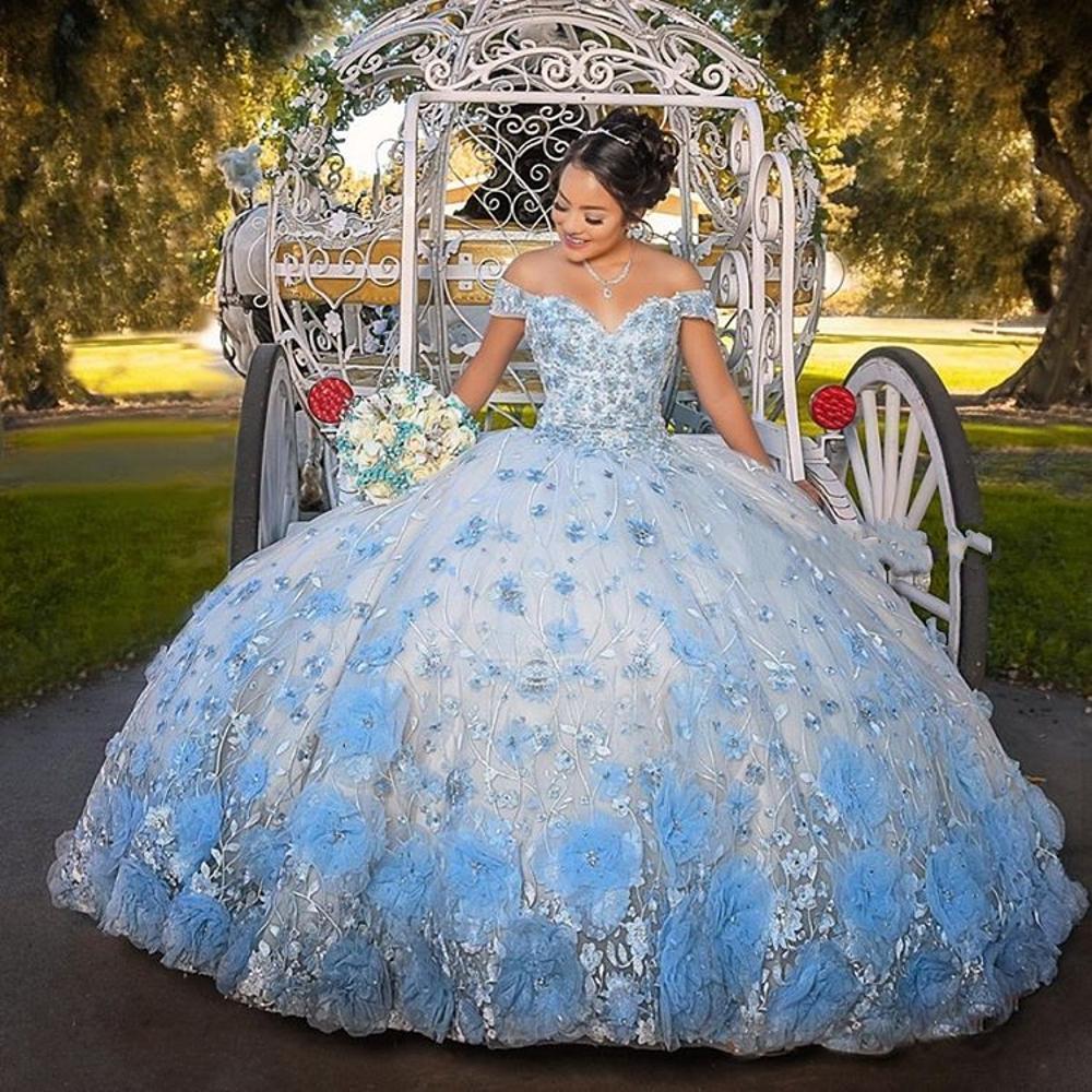 15 años de 2021 Bebek Mavisi Sweet 16 Quinceanera Modelleri İçin Kızlar 3D Çiçekler Dantel Sweetheart Balosu'nda Dantel-up Önlük balo elbise vestidos