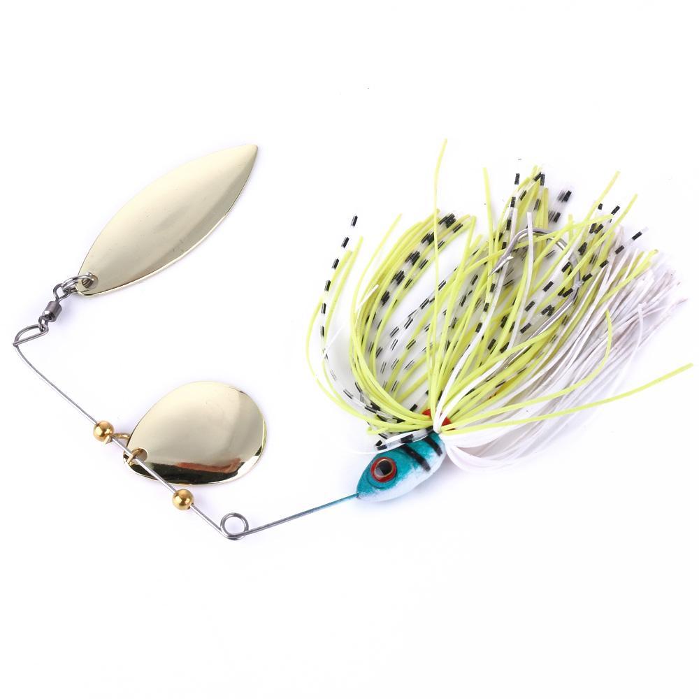 100pcs HOT pesca VENDITA 0,61 once richiamo Spinner esche Spinners Spinners doppie pezzi esche da pesca esche dure 17.4G 4 colori SB007