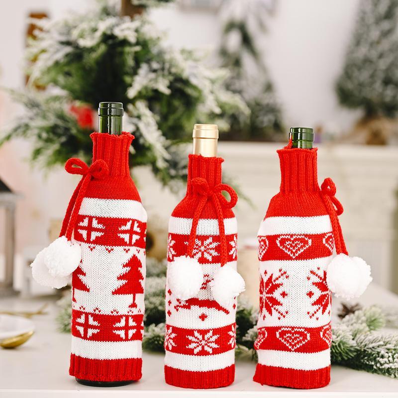 Reutilizável Snowflake cervos Árvore do frasco Saco de malha vinho artesanal Covers frasco do presente Xmas Bolsas da tabela do Natal Jantar Detalhes