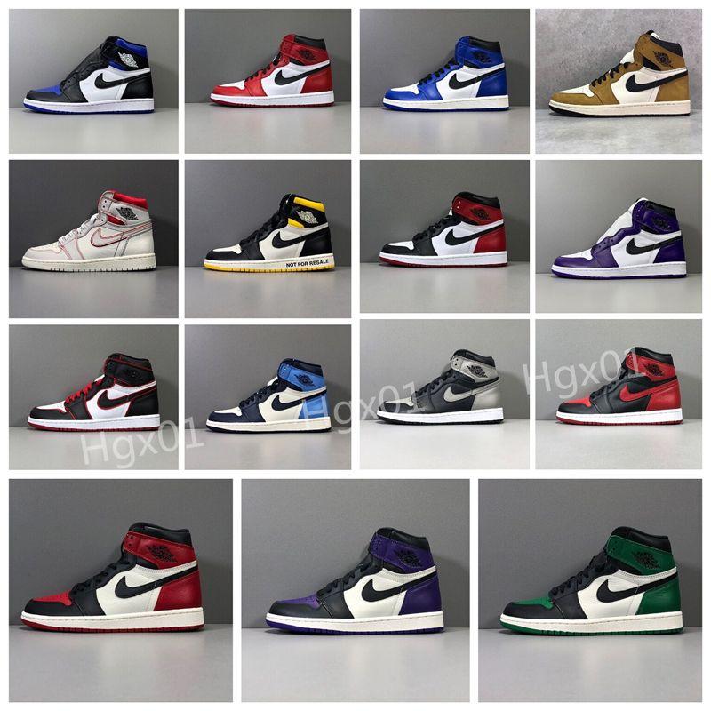 2020 Новый высокий Баскетбольная обувь Jumpman Мужчины Mid Чикаго Toe Черный Светло-серый дым кроссовки Metallic Silver Hare ПАСХА Женщины Тренеры 545753