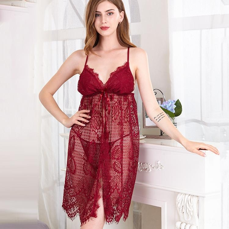 tamanho grande cardigan sexy profunda V tentação camisola transparente flertar rendas suspender saia suspender saia pijama Sling pijama UyHPH