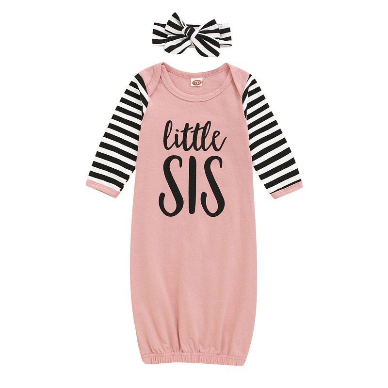Sacs de couchage pour bébé nouveau-né Lettre Imprimé Bébé Pyjama bébé Vêtements de bébé Little Sister Cartoon rayé nuit avec bandeau 060808