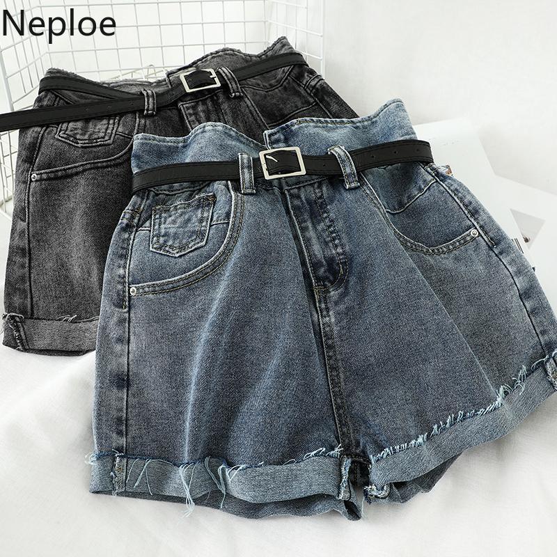 Neploe Été 2020 taille haute en denim Shorts femmes sexy en vrac Bouton Fermeture à glissière jambe large dames Shorts Femme Bas 1A278 T200902