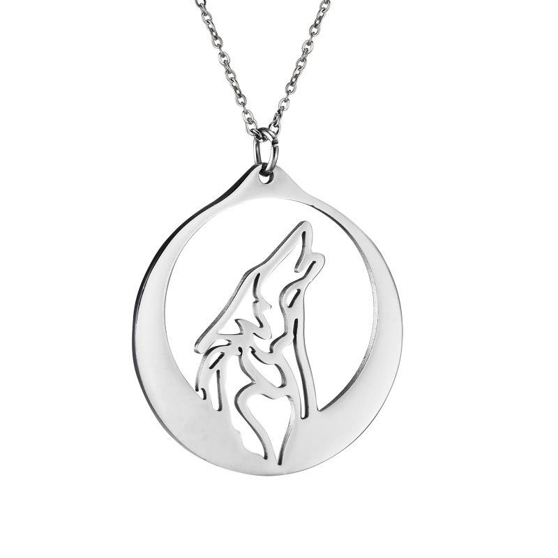 ins personalized hollow-out head titanium steel wolf brand necklace pendant accessories