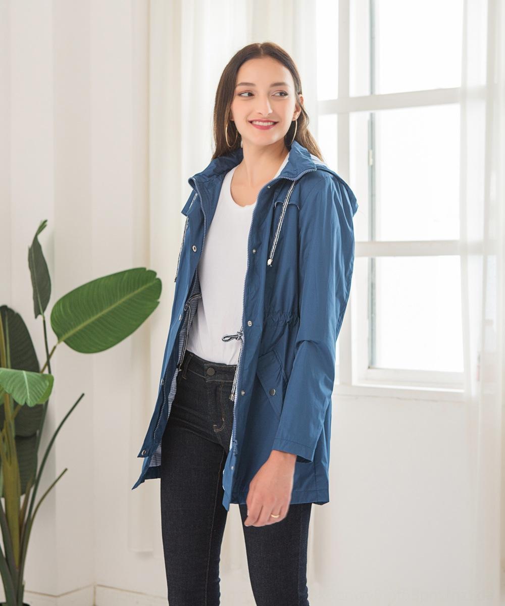 LDJKz New casual waterproof waist hooded mid-length raincoat for women New casual waterproof clothing waist hooded mid-length raincoat for c