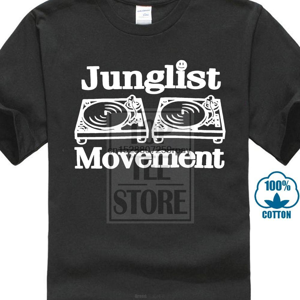 Movimiento de batería y bajo Parranda placas giratorias Cubiertas música Dnb hombre Junglist T Shirts Mencotton O cuello para hombre T remata camisetas