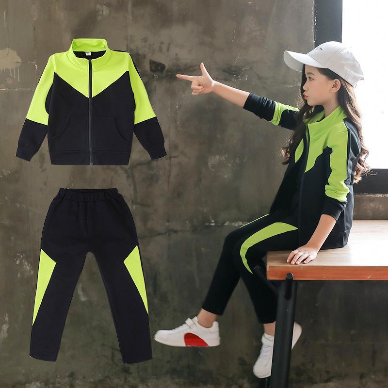 2020 осень Tracksuit девушки Спортивные костюмы для детей с длинным рукавом пиджаки Пант Одежда для школьных малышей Fall Boutique Outfit 10 X0923