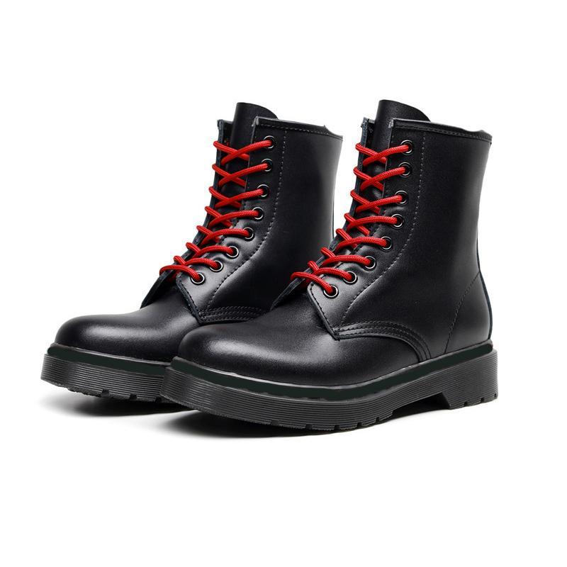 Мягкая кожа дизайнер мотоциклов пинетки красный шнурках женщин мода натуральная кожа лодыжки зимние черные сапоги большого размера 35-48