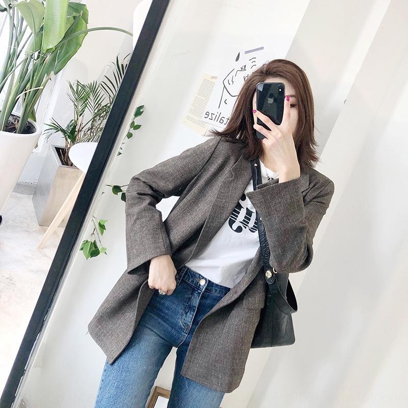 Korean Dongdaemun 2020 1501 Nouveau lâche costume à carreaux de femmes brunes coréenne Dongdaemun manteau 1 501 vêtements 2020 nouveau costume à carreaux lâche manteau brun WOM