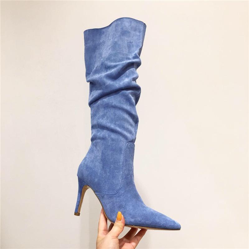 Azul Botas das senhoras dos saltos altos Sexy Joelho Botas Calçados Femininos 2020 outono Designer Heel Calcados Feminino Botas