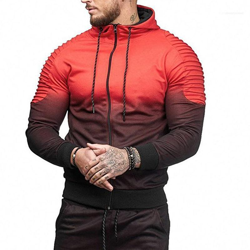 Gradiente Maschio con cappuccio Vendita Moda Uomo Hiphop Tute molla sport casuali magliette a righe Folds stampa 3D