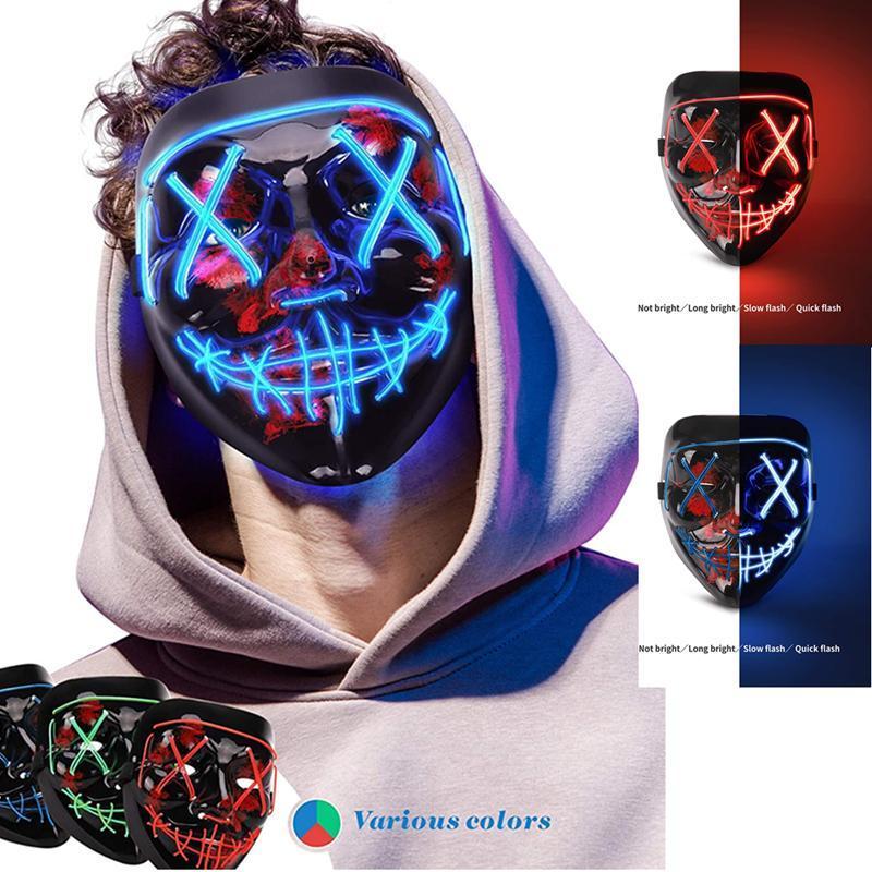 LED Light Up Halloween Masque Effrayant Rave Glow avec 3 modes d'éclairage El Fil pour Costume Party cosplay. Ajustable