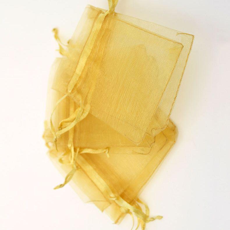 100 pcs / lote ouro champane organza favor a cordão sacos 4siza malotas de embalagem de jóias de casamento, bom presente de sacos fábrica