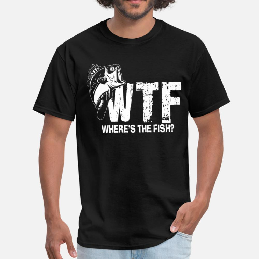Wtf Wheres The Fish Pesca engraçada camiseta Homens Designer camiseta fresco O Neck Família solto Humor Primavera Shirt