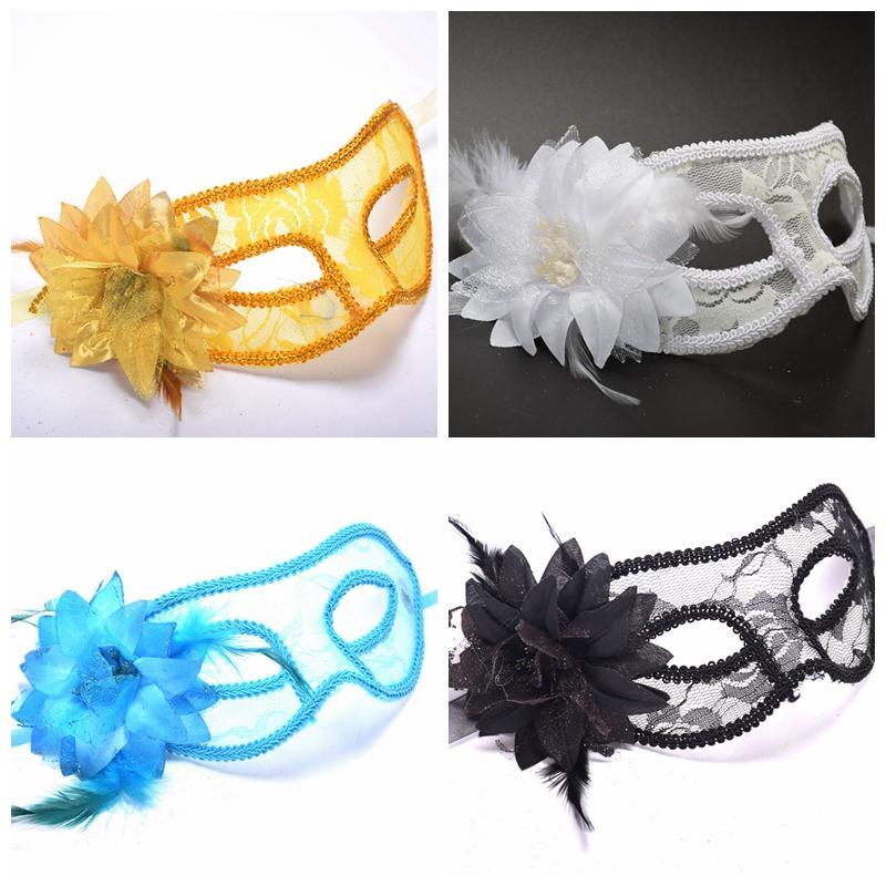 Bir Maskeli Balo Dantel Çiçek Maskeleri DBC BH3981 İçin Sıcak Satış Seksi Parti Maskesi Siyah Beyaz Kırmızı Altın Mavi Kadınlar Tüylü Venetian Masquerade Maskeleri