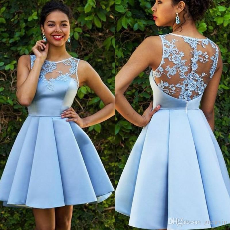 Ocasião New Sexy Blue Sky Curto Prom Vestidos Jewel mangas Lace apliques Satin Ruffle Cooktail vestido especial Baile Vestido