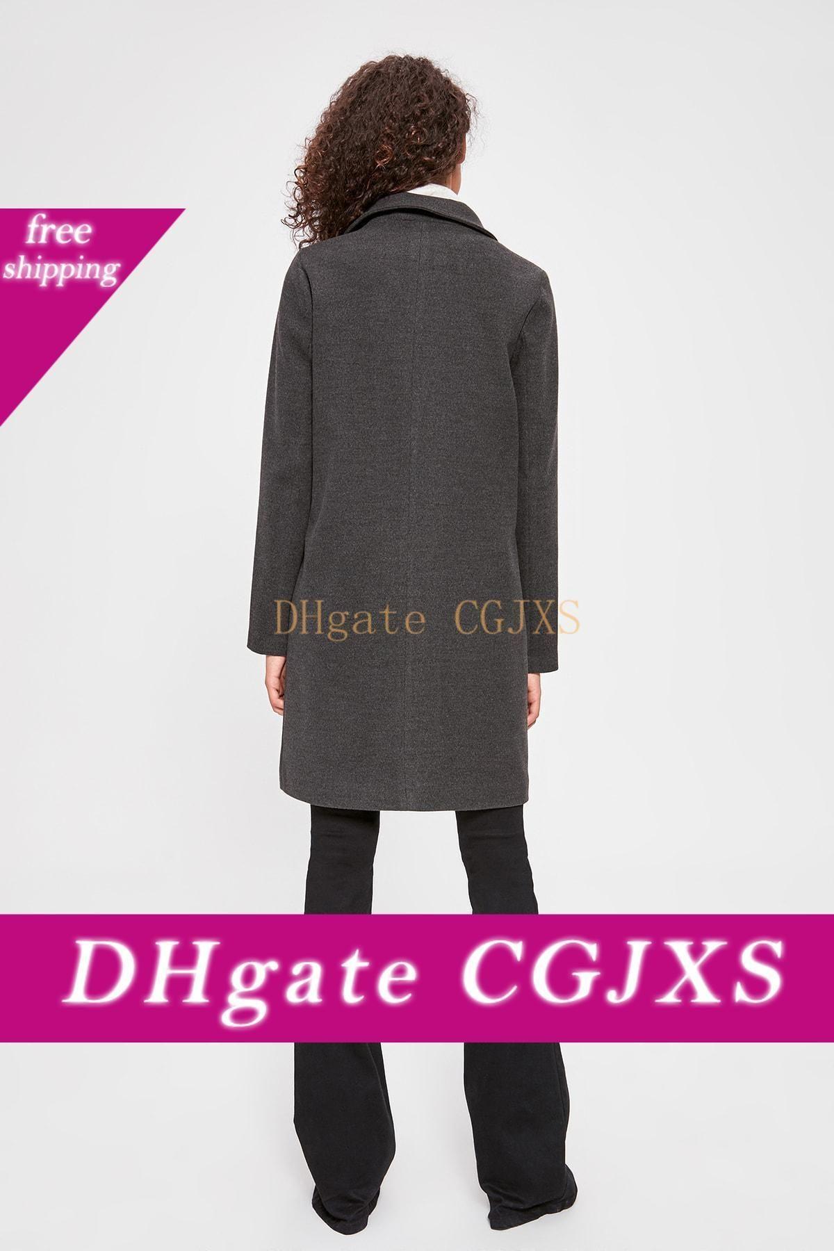 Trendyol Uzun Çift Breasted Damga Coat Twoaw20kb0118