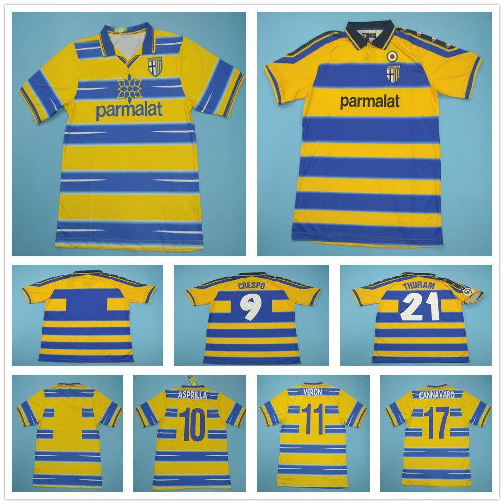 98 99 00 Retro Parma Soccer Jersey CRESPO CANNAVARO ORTEGA BUFFON THURAM FUSER BAGGIO AMOROSO KARAMOH 1998 1999 2000 Custom Football Shirt