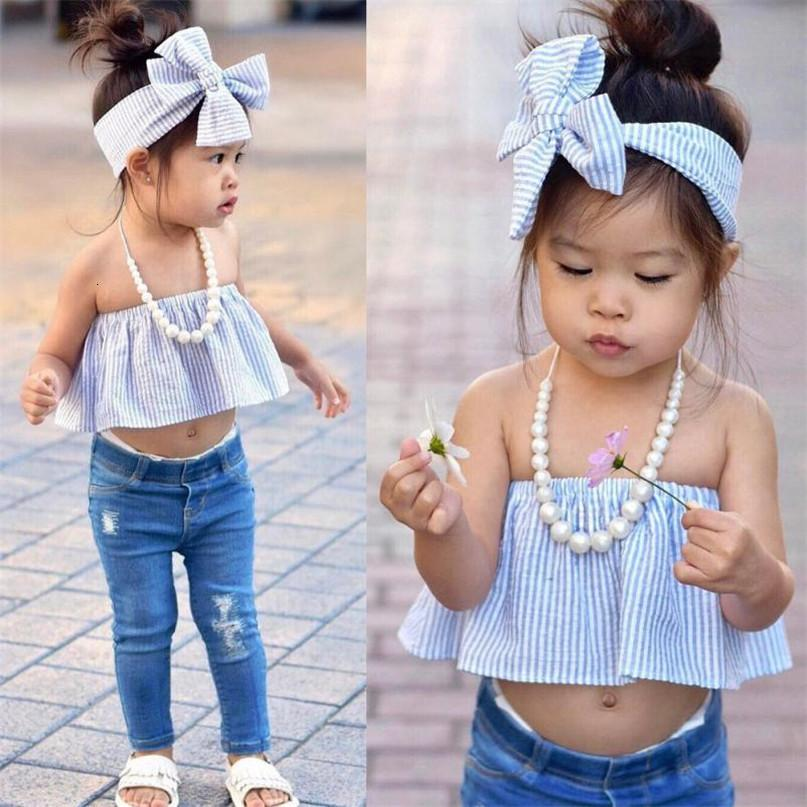 A strisce maglietta blu bel colore del bambino bambini della neonata spalle Top Pantaloni fototecnica vestiti Set Nuova goccia spedito ST27