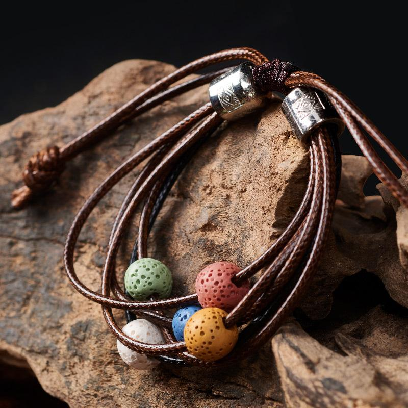 Gros réglable Bracelet Perle Pierre volcanique Yoga Lava Lava Huile Essentielle Diffuseur Perle Bracelets Bangle Tressé Équilibre guérison