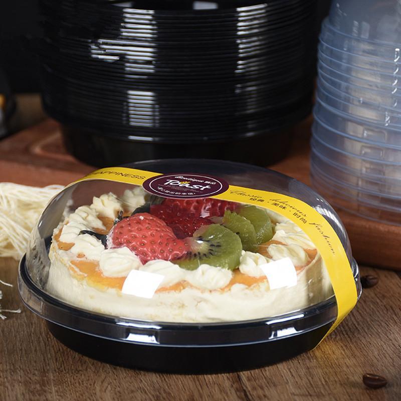 50Pcs en plastique à usage unique emporter Bol ronde Boîte à lunch pique-nique Party Salade de fruits Favor gâteau de crème glacée bols Dessert