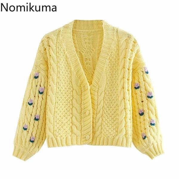 Nomikuma Vintage Flower Embroidery Knitted Cardigan Women Coat 2020 Autumn Winter Puff Long Sleeve V-neck Short Sweater 6C456 0926