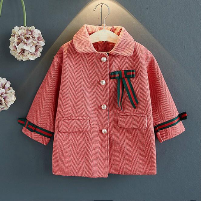 Niñas abrigos de invierno de 2020 nueva llegada de moda gruesa capa de color sólido Niños de manga larga solapa del cuello abrigos ropa exterior