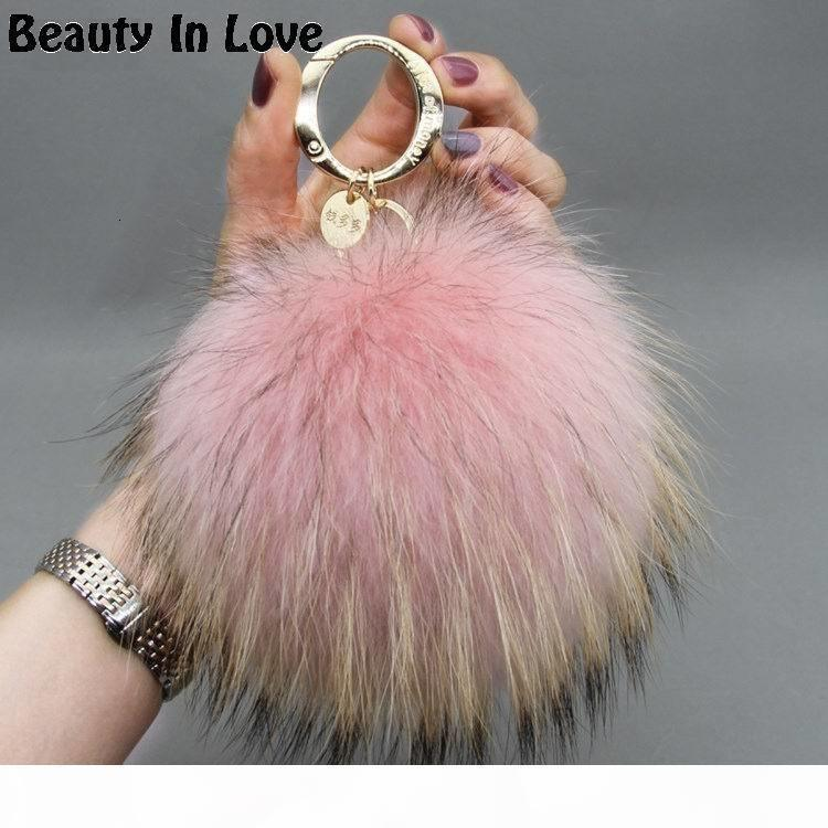 Catena Big 15 centimetri Fluffy reale Fox pompon in pelliccia Pompon sfera di alta qualità Keychain Car metallo dell'anello del pendente per le donne F281 C19011001
