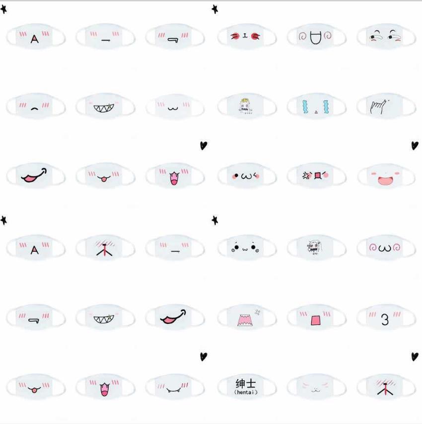 30pcs 100 estilos Máscaras laváveis Máscara branca do algodão cartoon Suprimentos contra pó máscara de impressão universal para homens e mulheres máscara moda bonito